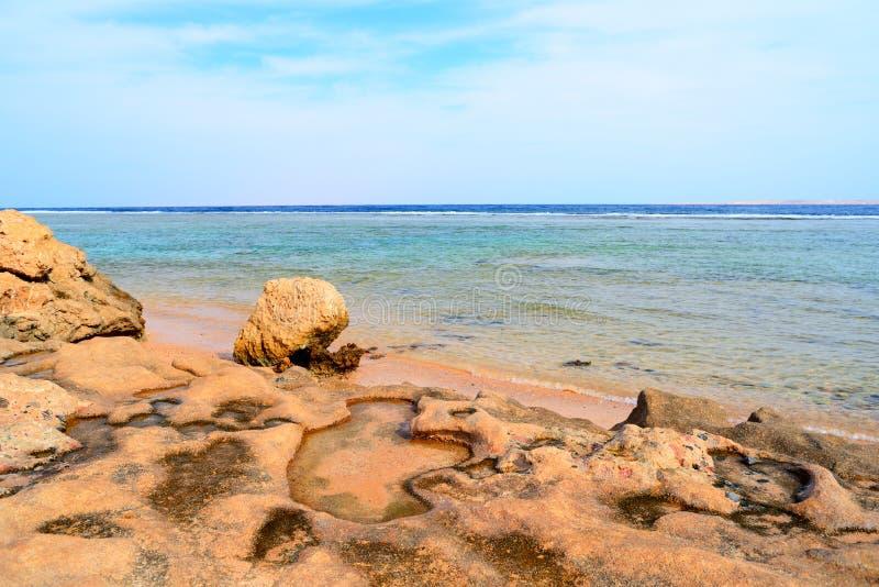 Zeegezicht dichtbij Sharm el Sheikh, Egypte royalty-vrije stock afbeelding