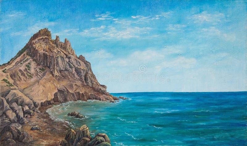 Zeegezicht en strand Origineel olieverfschilderij op canvas stock afbeelding