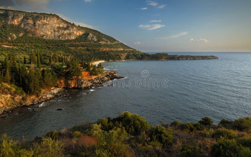 Zeegezicht in Mani, Griekenland stock fotografie