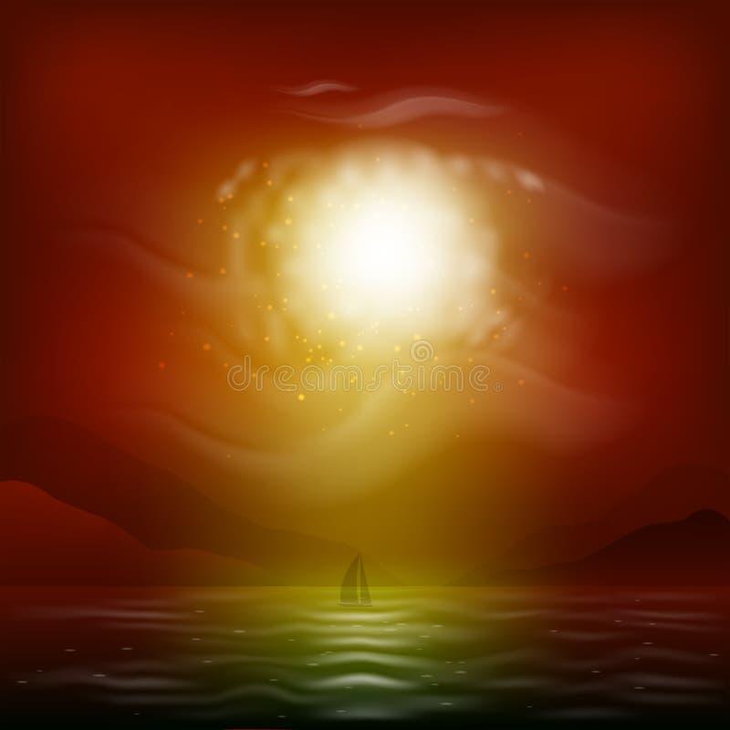 Zeegezicht met een rode zonsondergang stock illustratie