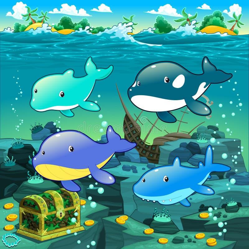 Zeegezicht met schat, galjoen en vissen. vector illustratie