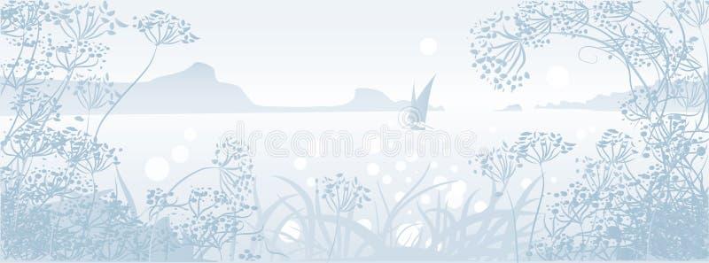 Zeegezicht met zeilboot royalty-vrije illustratie