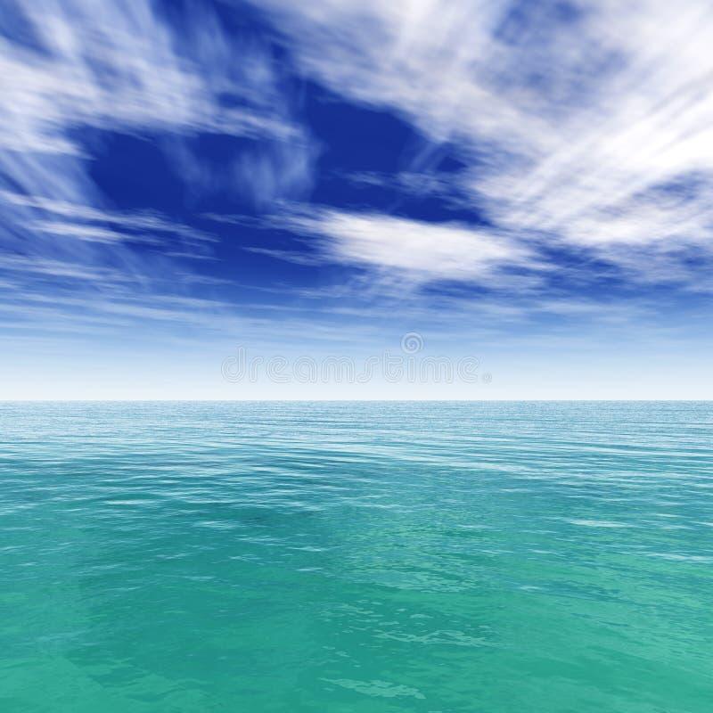zeegezicht, oceaan en blauwe hemel stock foto's