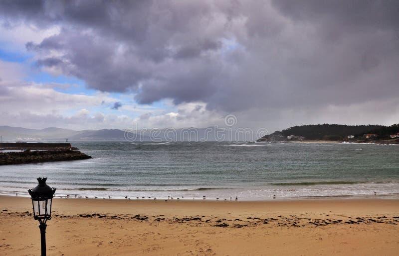 Zeegezicht Porto doet Zoon stock foto's