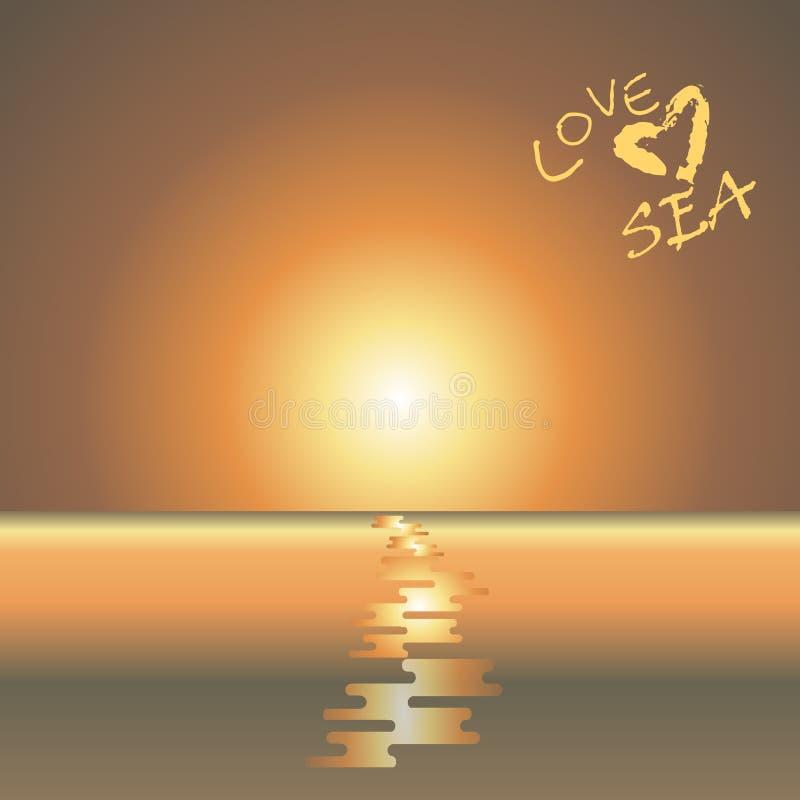 Zeegezicht Vector beeld Beelden van de zon die op het overzees plaatsen royalty-vrije illustratie
