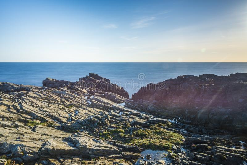 Zeegezichten over het Eiland van Lewis-kusten, Schotland stock foto's