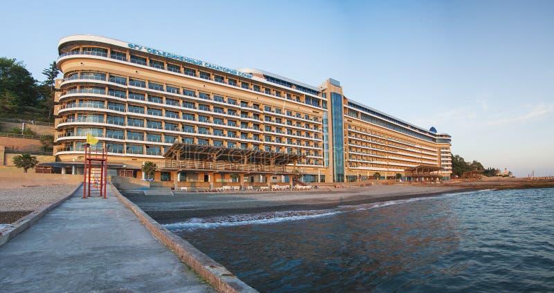 Zeegezichtpanorama in Sotchi, Rusland royalty-vrije stock afbeeldingen