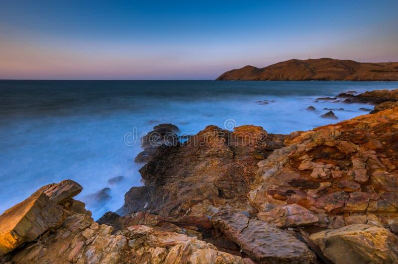 Zeegezichtzonsondergang Kreta, Griekenland stock foto
