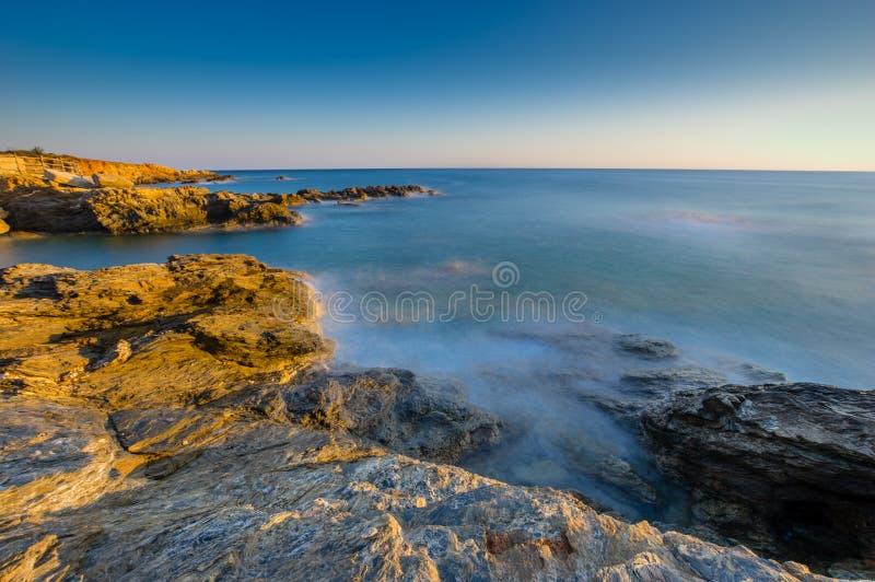 Zeegezichtzonsopgang Kreta, Griekenland royalty-vrije stock afbeeldingen