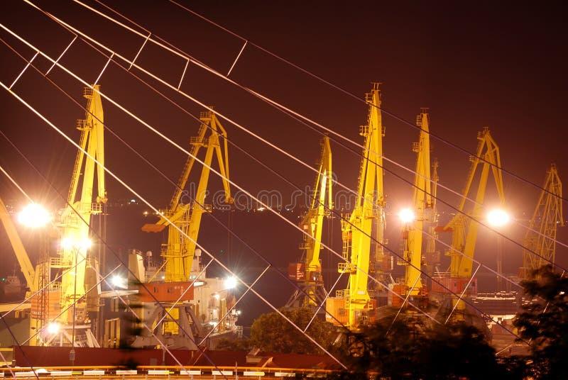 Zeehaven bij nacht royalty-vrije stock afbeelding