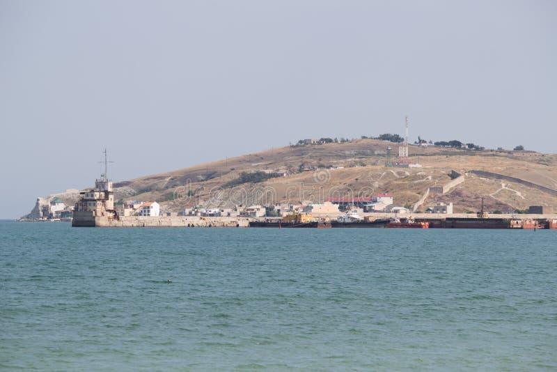 Zeehaven op de Zwarte Zee in de Krim royalty-vrije stock afbeelding