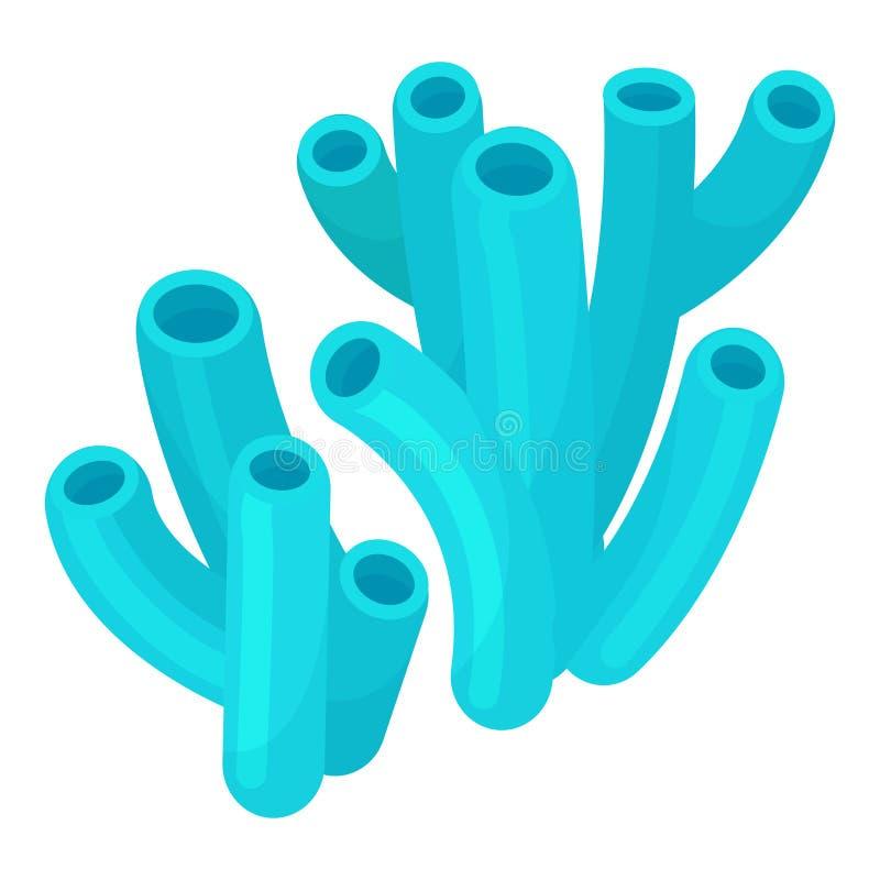 Zeekoraal lichtblauw pictogram, kleurrijk aquatisch leven vector illustratie