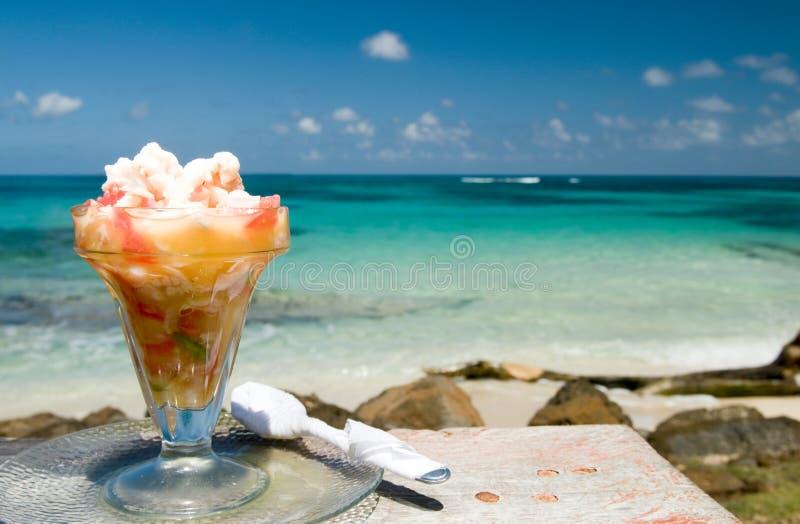 Zeekreeft ceviche Caraïbische overzeese achtergrond Nicaragua royalty-vrije stock foto