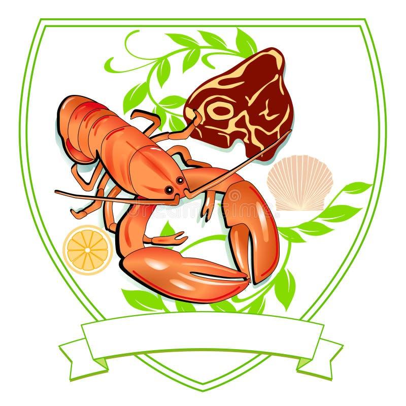 Zeekreeft en Lapje vlees vector illustratie