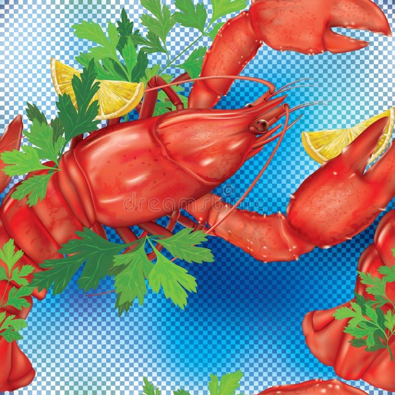 Zeekreeft op een blauwe achtergrond vector illustratie