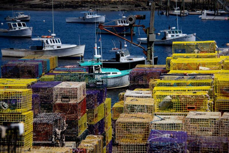 Zeekreeftboten in Maine royalty-vrije stock afbeeldingen