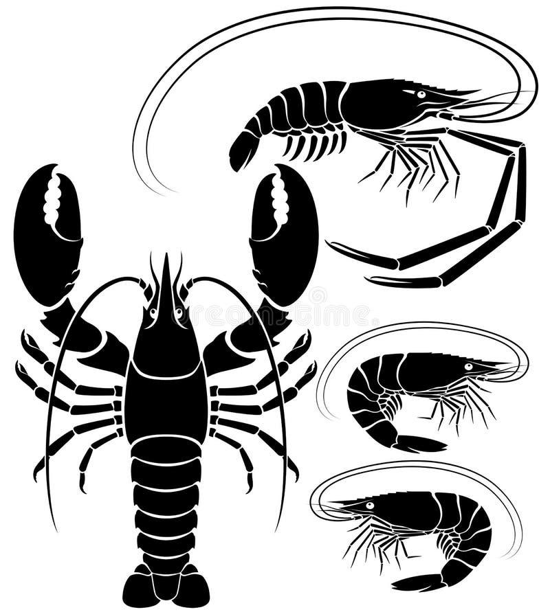 Zeekreeftgarnalen en garnaal Vector graphhics royalty-vrije illustratie