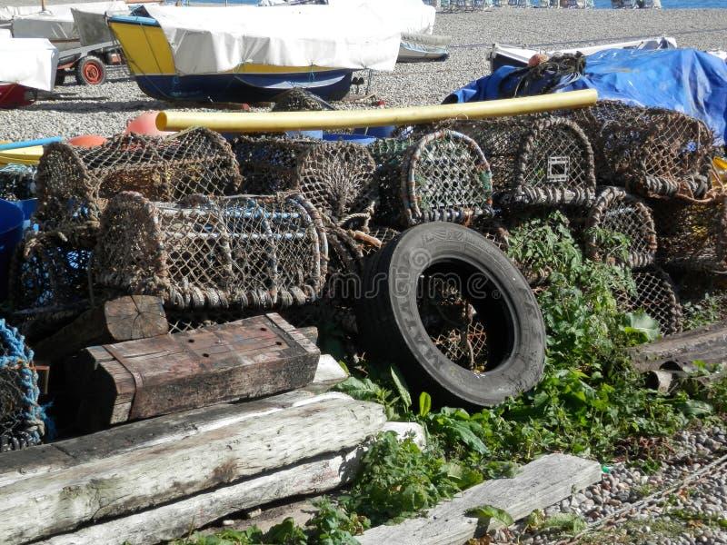 Zeekreeftpotten op Strand royalty-vrije stock afbeelding