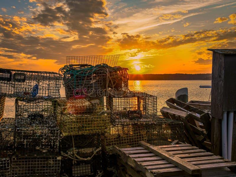 Zeekreeftvallen bij Schemer stock fotografie