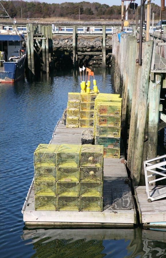 Zeekreeftvallen op het Dok stock foto