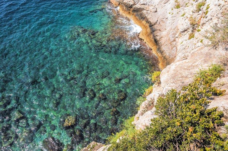 Zeekust in Monaco-Ville tijdens een de zomerdag royalty-vrije stock foto's