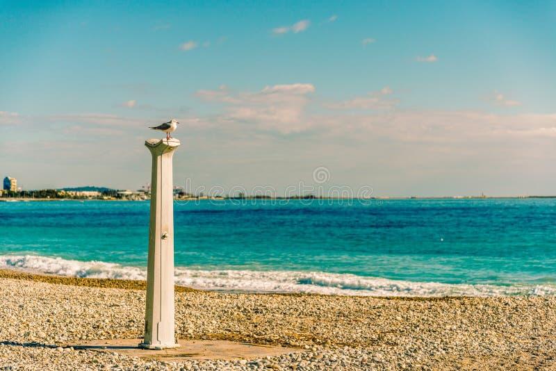 Zeekust van Cagnes-sur-Mer in een zonnige de winterdag stock foto's