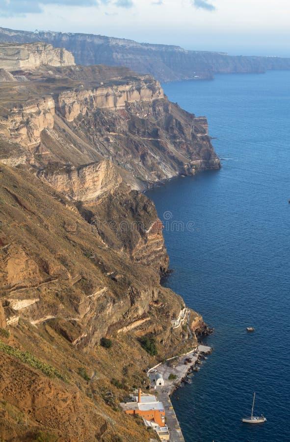 Zeekust van Santorini, Griekenland royalty-vrije stock foto's