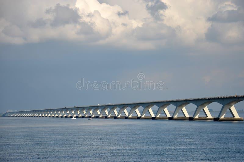 Zeeland bridge under a dramatic sky stock image
