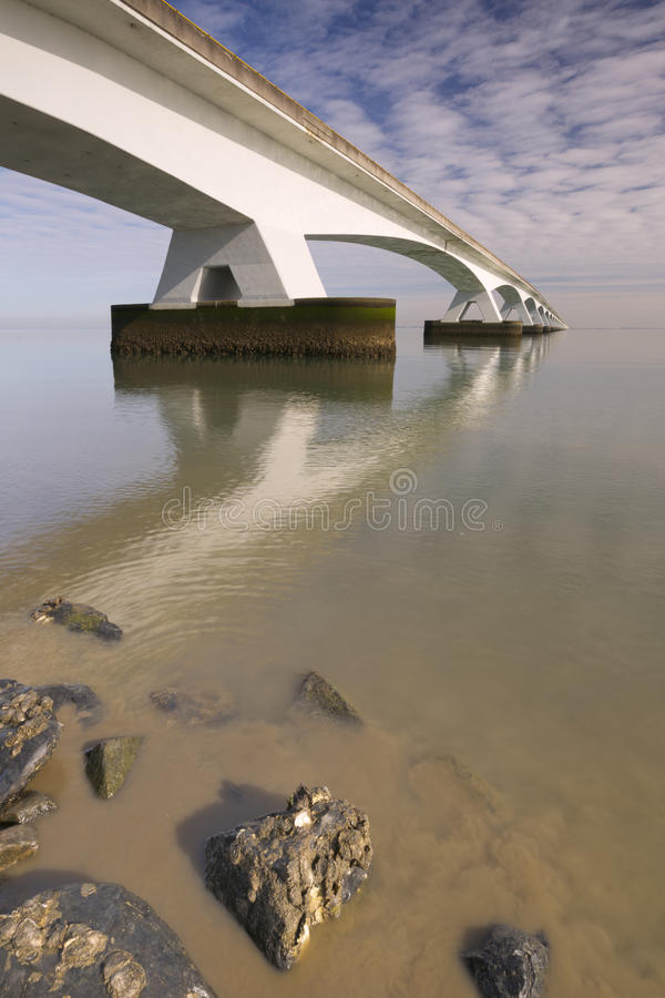 The Zeeland Bridge in Zeeland, The Netherlands royalty free stock photo