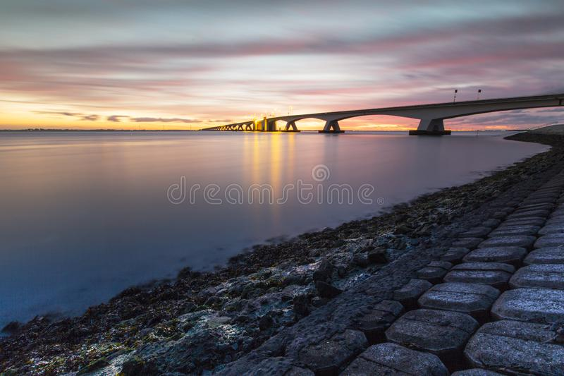 Zeelandbrug met long exposure, Zeeland bridge with long exposure stock photography