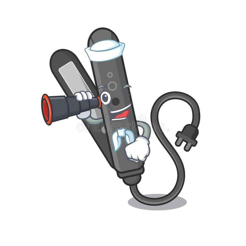 Zeeman met binoculaire die gelijkrichter met in het beeldverhaal wordt geïsoleerd stock illustratie