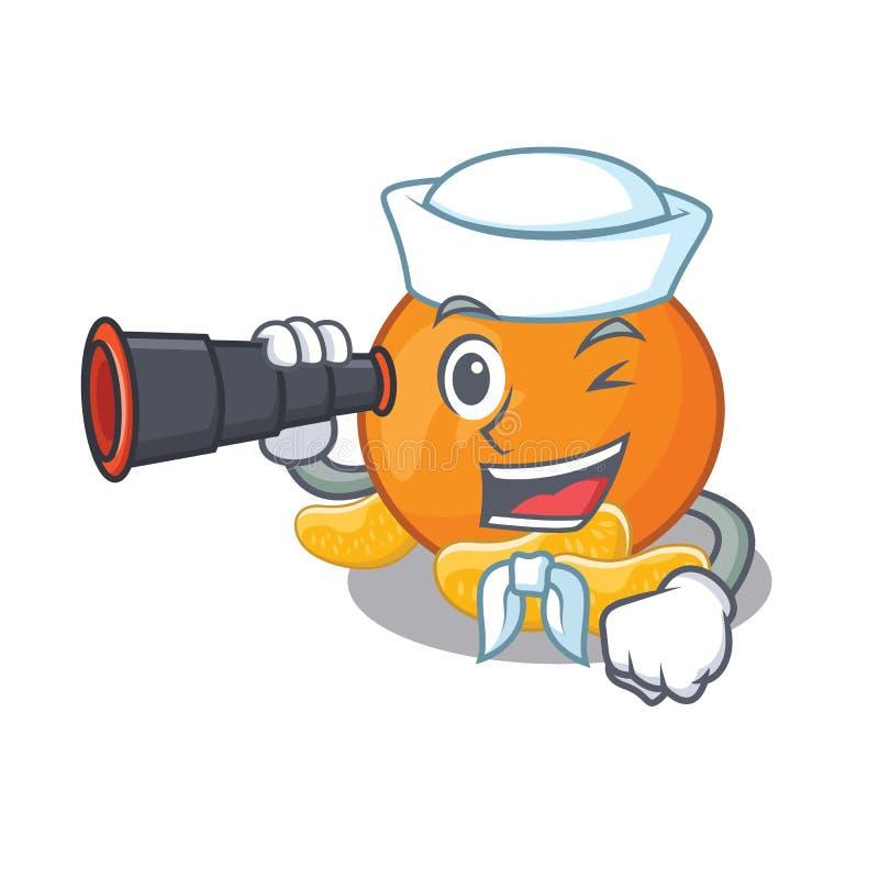 Zeeman met binoculaire mandarijn met in de mascottevorm royalty-vrije illustratie
