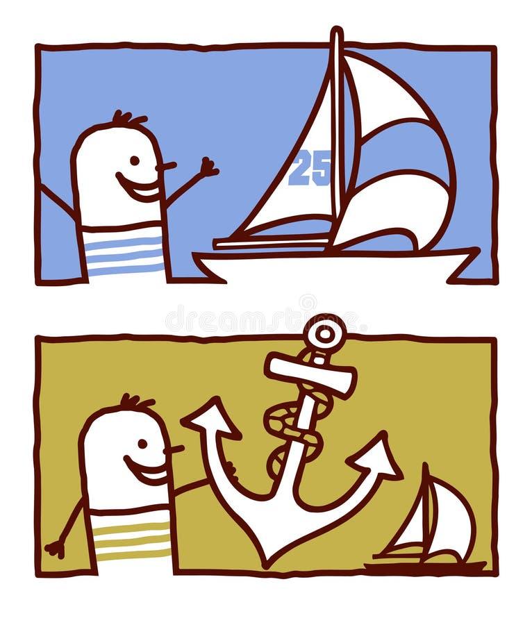 Zeeman met jacht & anker stock illustratie
