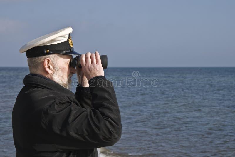 Zeeman met Verrekijkers royalty-vrije stock afbeeldingen