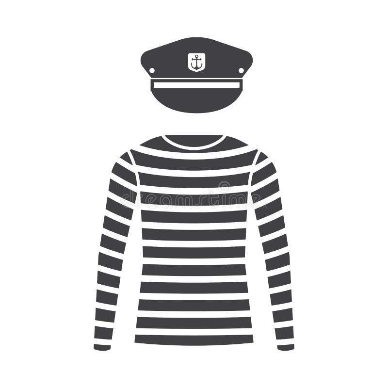 Zeeman Shirt en Kapitein Cap stock illustratie