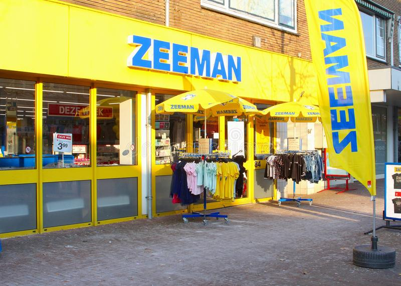 Zeeman shop store building chain corporation, Netherlands. Zeeman shop sells clothing, household items, underwear and other things in many Dutch cities and stock images