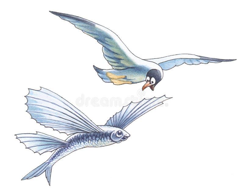 Zeemeeuw en vliegende vissen stock illustratie
