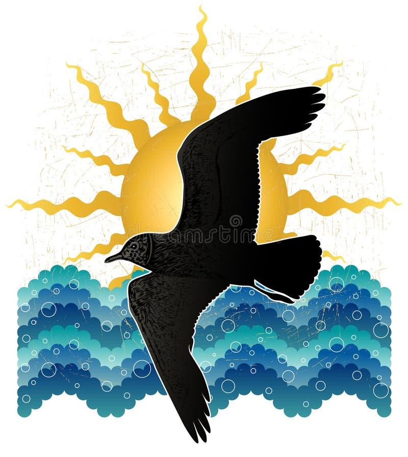 Zeemeeuw, het overzees, de zon vector illustratie