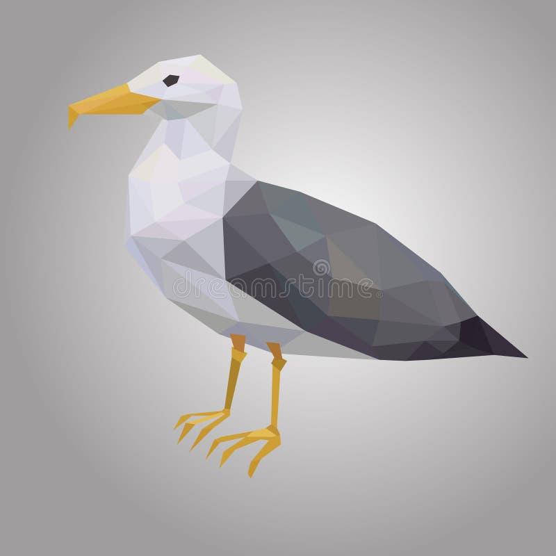 Zeemeeuw lage poly Lage veelhoekige zeevogel Dier met witte schil en zwarte vleugels stock afbeeldingen
