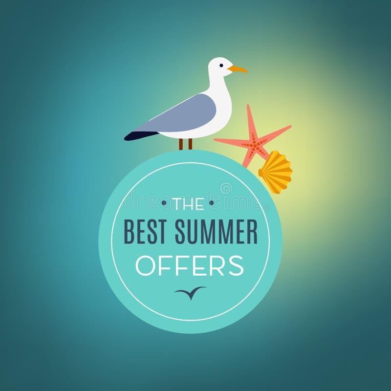 Zeemeeuw op de aanbieding van de teken beste zomer stock illustratie