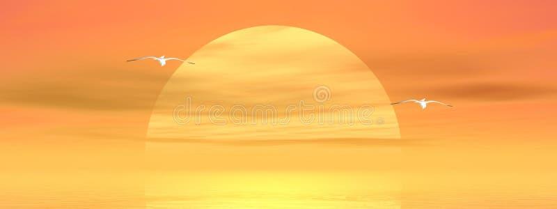Zeemeeuwen door zonsondergang royalty-vrije illustratie