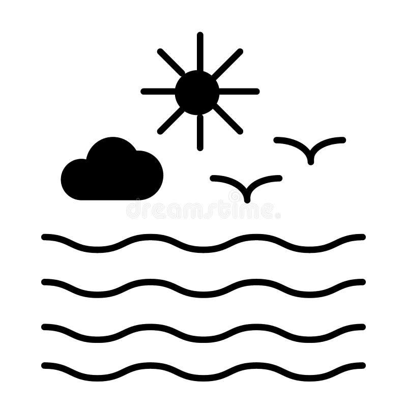 Zeemeeuwen en zon met wolken stevig pictogram Golven en zeemeeuwen vectordieillustratie op wit wordt geïsoleerd Oceaanglyphstijl vector illustratie