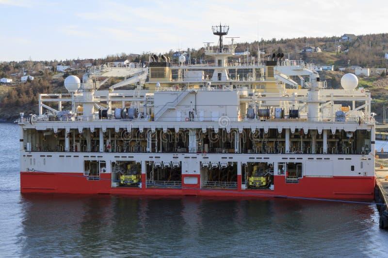 Zeeolie en gas seismisch schip royalty-vrije stock foto's