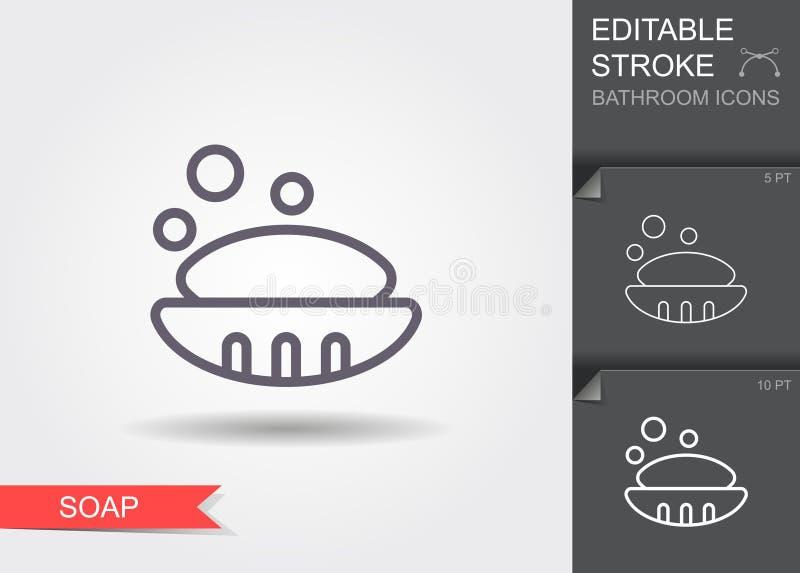 Zeep in zeepschotel Lijnpictogram met editable slag met schaduw royalty-vrije illustratie
