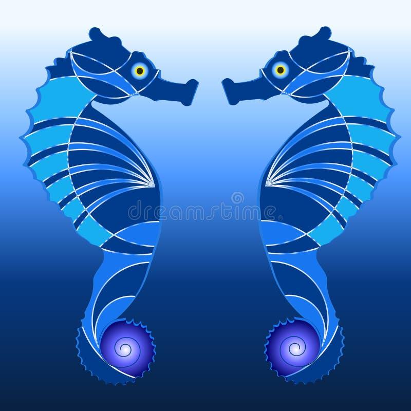 Zeepaardjeembleem stock illustratie
