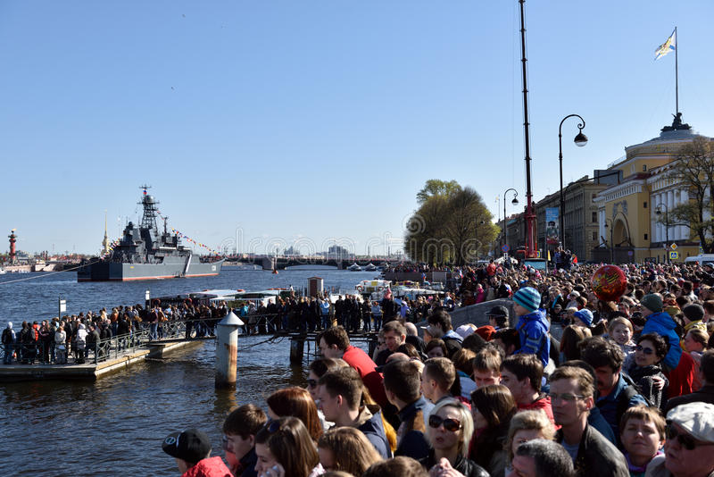 Zeeparade gewijd aan Victory Day in St. Petersburg, Rusland stock afbeelding