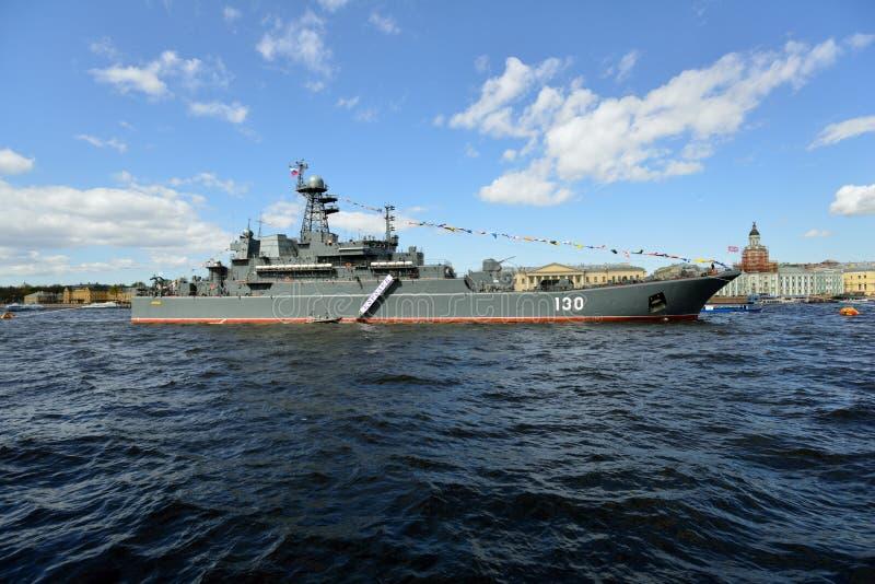 Zeeparade gewijd aan Victory Day in St. Petersburg, Rusland royalty-vrije stock foto's