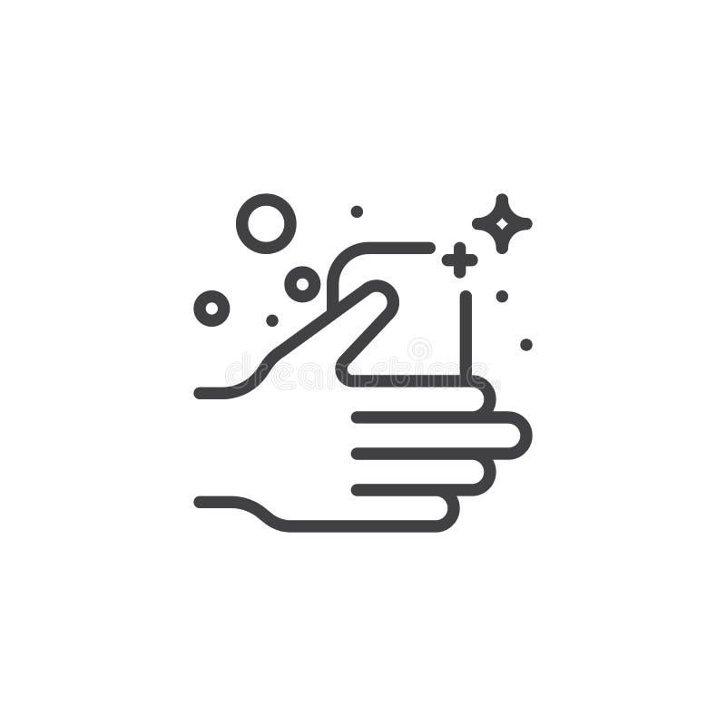 Zeepbar in een pictogram van het handoverzicht stock illustratie