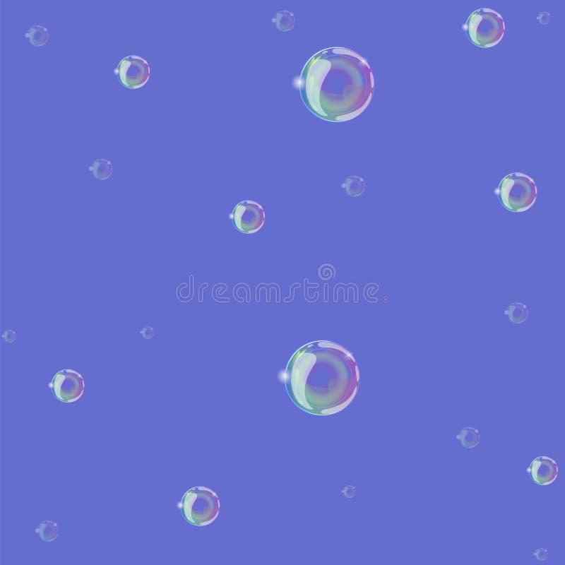 Zeepbels op een blauw naadloos patroon als achtergrond Vector grafiek stock illustratie