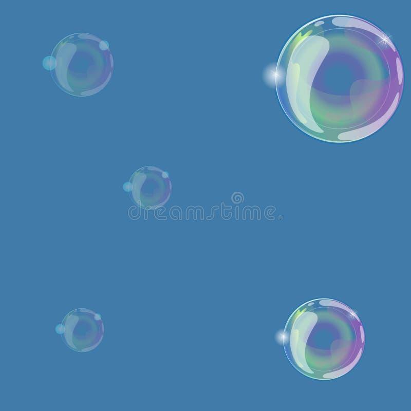 Zeepbels op een blauwe achtergrond Kan als naadloze textuur worden gebruikt Vector grafiek stock illustratie